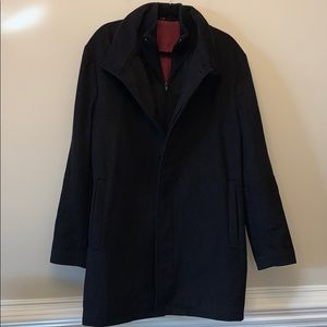 Rialto Cashmere And Wool Blend Black Coat